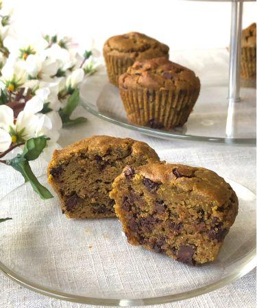muffin senza glutine all'avocado e tocchetti di cioccolato fondente - zoom