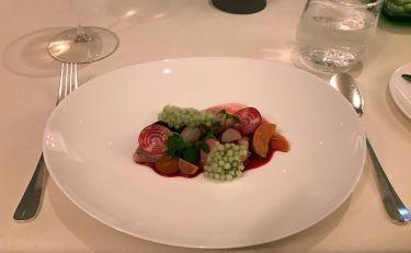 Restaurant Edvard Vienna - pesce giapponese Madai su riduzione di vino e spezie
