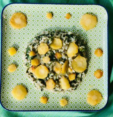 Risotto cavoli ricci, pastinaca in agrodolce, taleggio - piatto