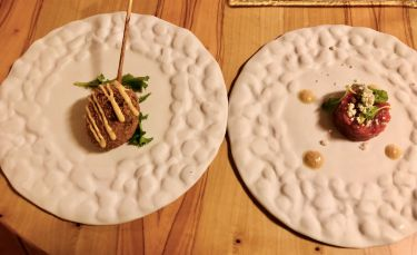 Taverna Migliore a Modica - Tartare di carne d'asina e stracotta di carne d'asina con panatura croccante