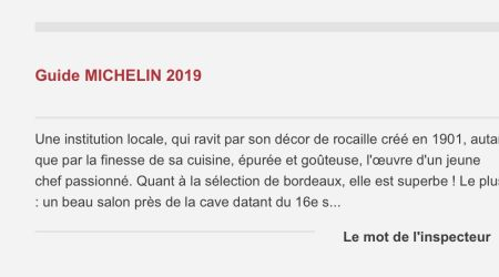 Commentaire de l'inspecteur du guide Michelin sur le restaurant Le Chapon Fin.