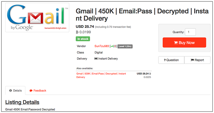 Decrypted 1 Million Gmail and Yahoo Passwords for Sale on