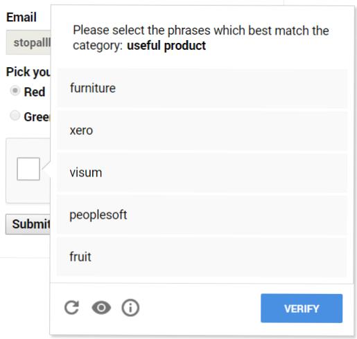reCAPTCHA text challenge