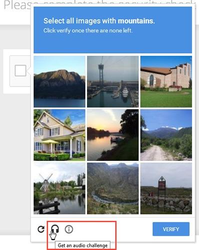reCAPTCHA audio challenge