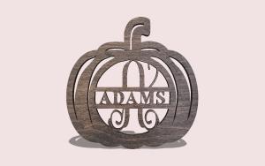 Pumpkin Split Monogram Door Hanger PDF Scroll Saw Pattern The Holz Brothers