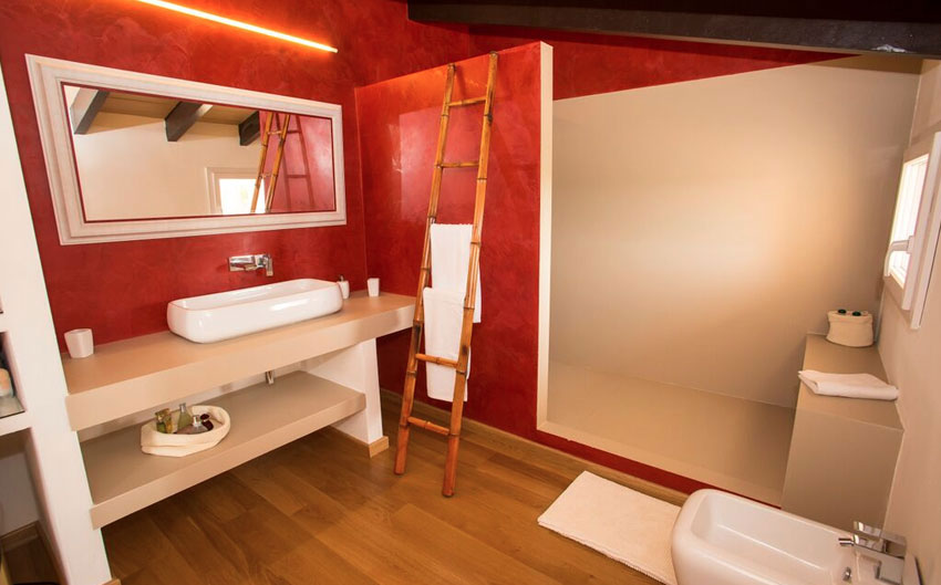 mallorcan farmhouse red bathroom
