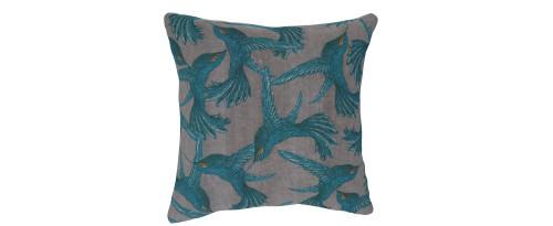 Large Square Cushion in Paradise Bird Grey