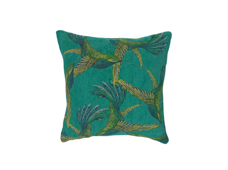 Paradise Bird Teal Cushion