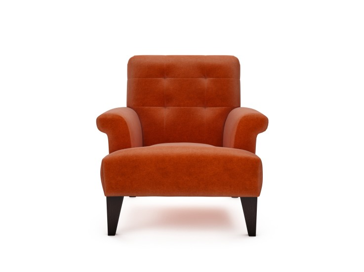 Joseph Chair in Mandarin Garnet with Walnut feet