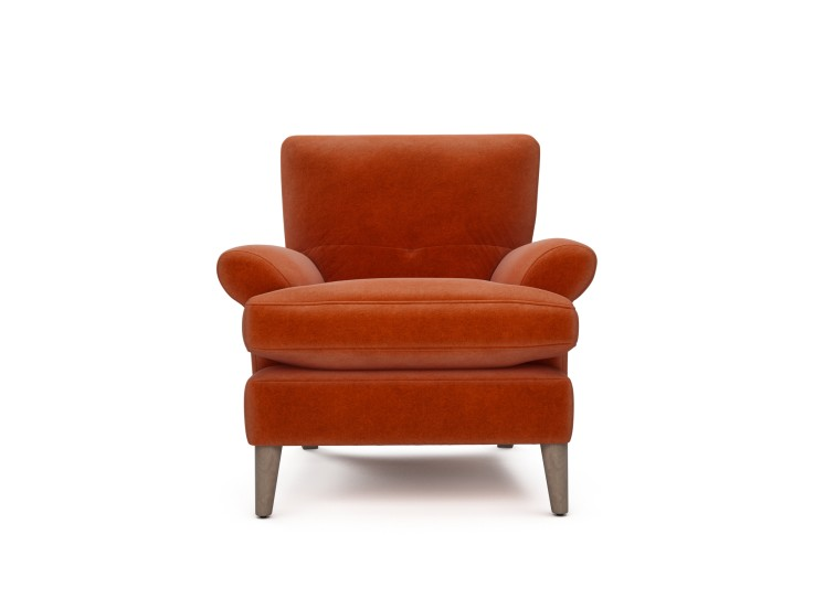 Joshua Chair in Mandarin Garnet with Washed Oak feet