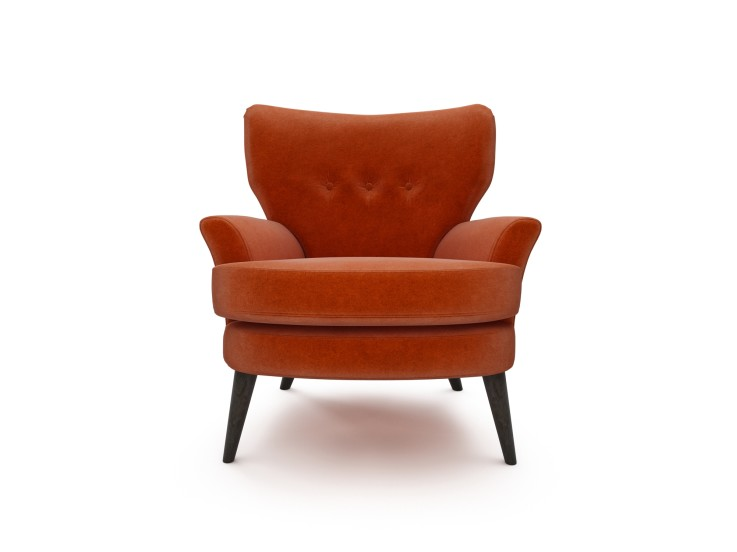 Noah Chair in Mandarin Garnet with Walnut feet
