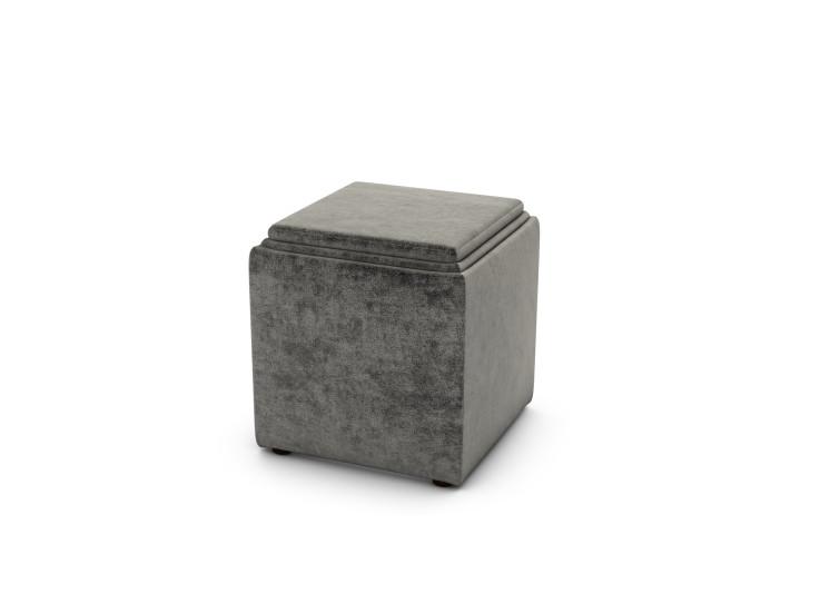 Taylor Storage Cube, Crushed Velvet - Elephant Trunk