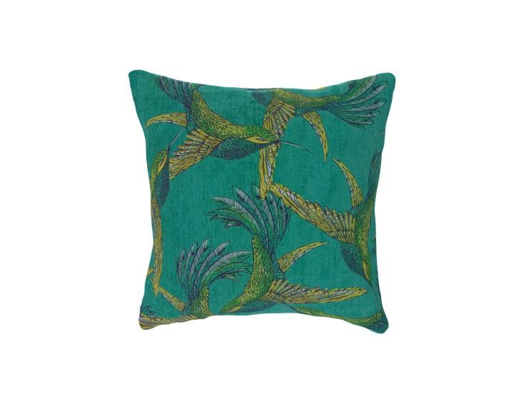 Paradise Bird Teal Cushion