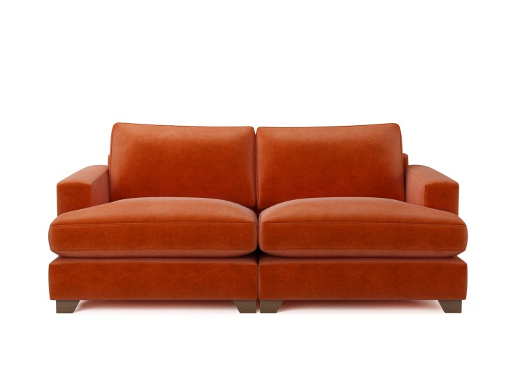 Lola 3 Seater Sofa in Mandarin Garnet with Vintage Oak feet and Fibre Fusion seat filling