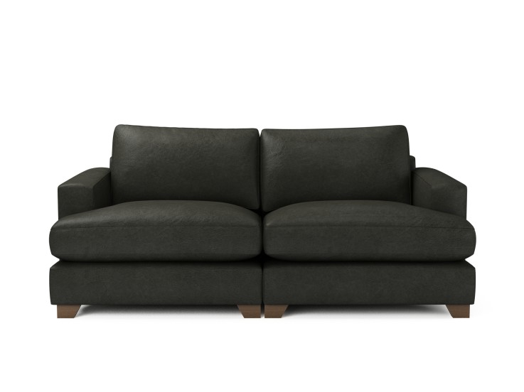 Lola 3 Seater Sofa in Raven with Vintage Oak feet and Fibre Fusion seat filling