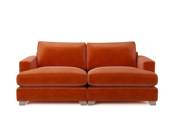 Lola 3 Seater Sofa in Mandarin Garnet with Washed Oak feet and Fibre Fusion seat filling