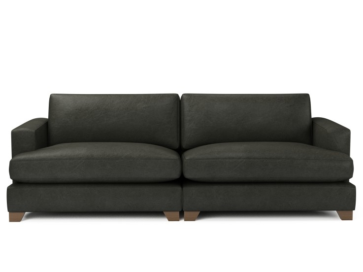 Lola 4 Seater Sofa in Raven with Vintage Oak feet and Fibre Fusion seat filling