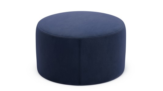 Harrison Circle Footstool, Velvet Touch - Midnight Indigo