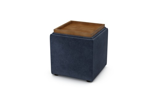 Taylor Storage Cube, Family Friendly Soft Velvet - African Sapphire