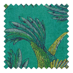 Paradise Bird Teal Fabric Swatch