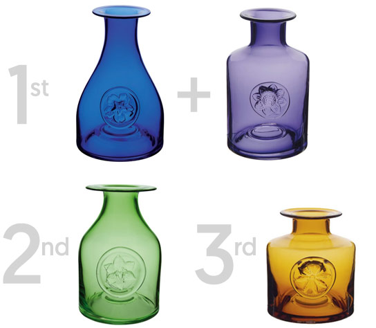 Win Dartington flower bottles