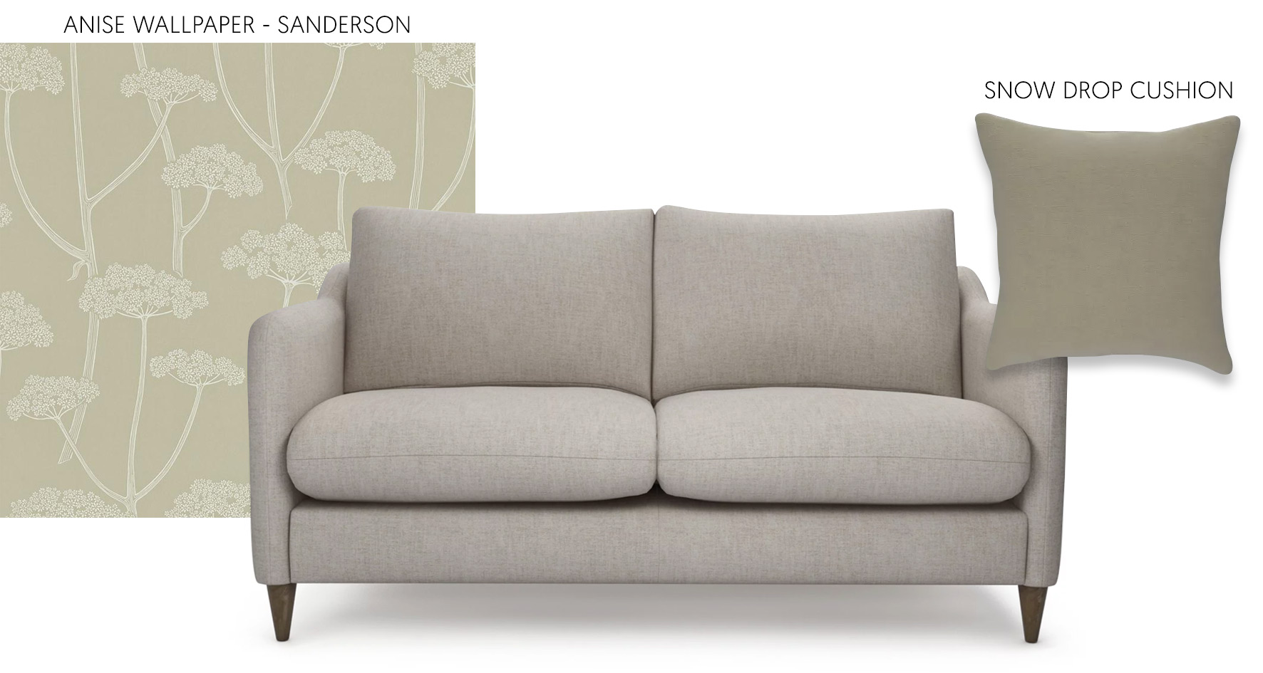 Accessorising a neutral sofa with Sanderson Wallpaper