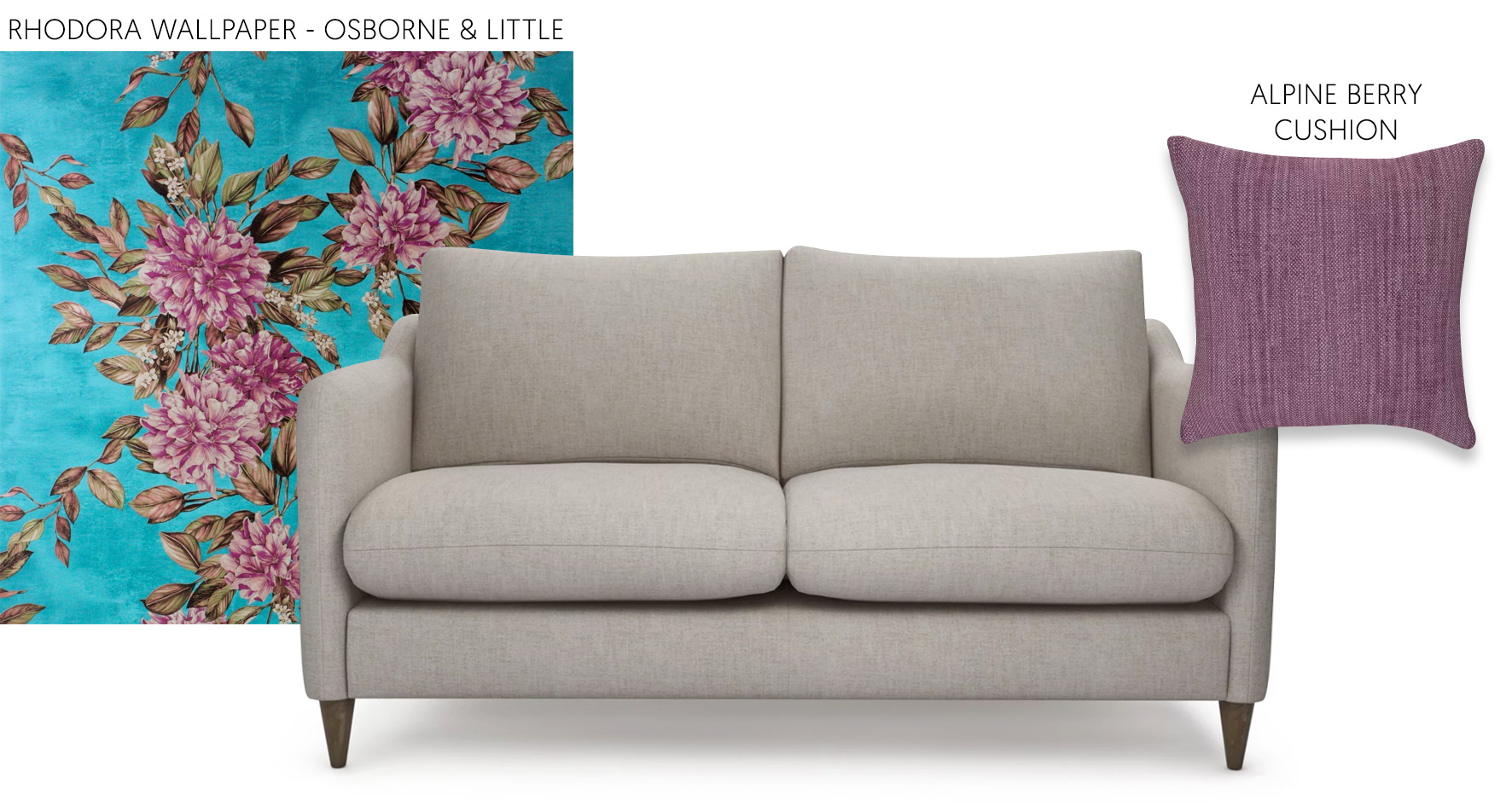 Accessorising a neutral sofa with Osborne & Little Wallpaper