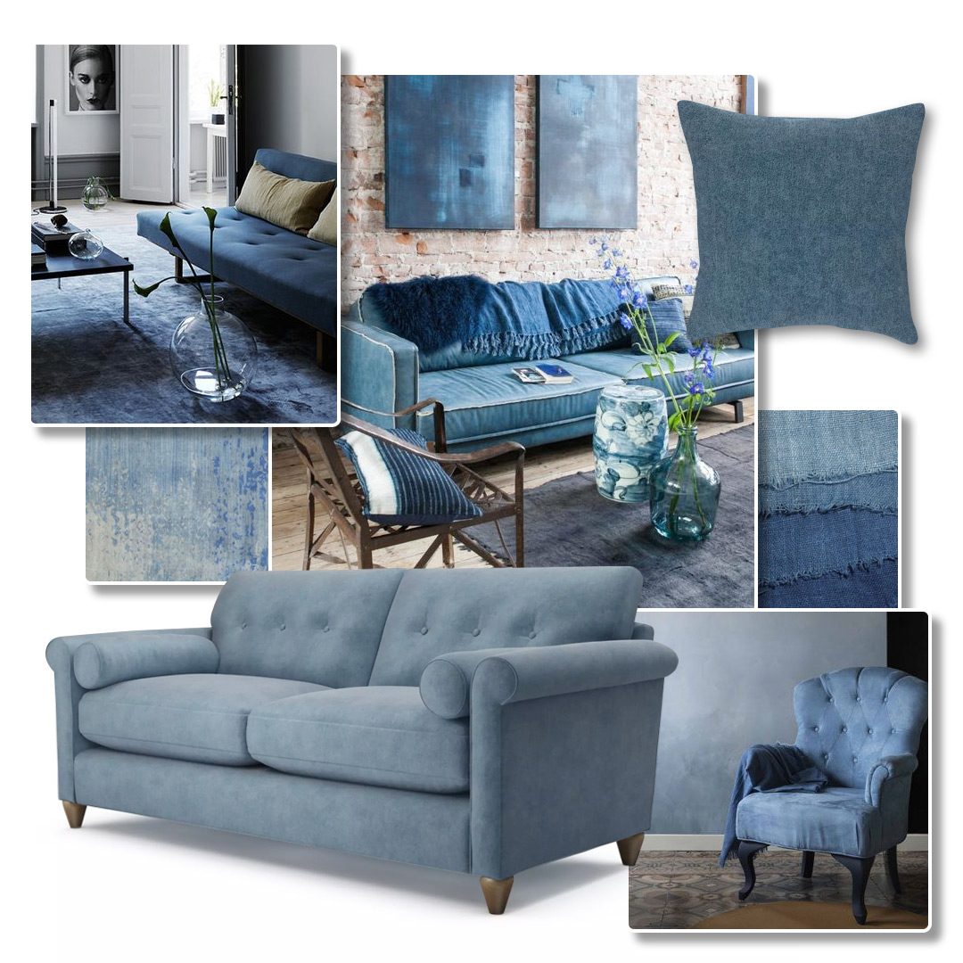 Denim Blue Sofas on Pinterest