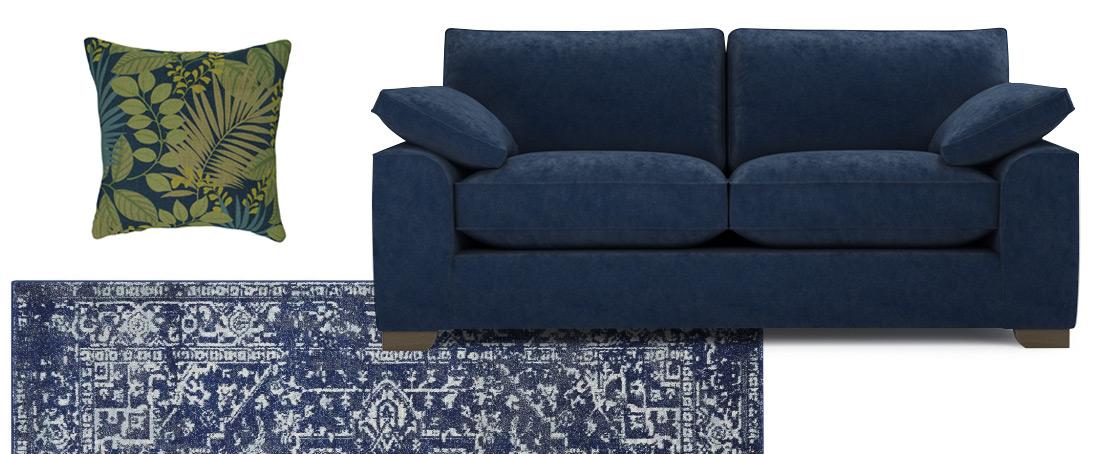 Blue Chenille Sofa