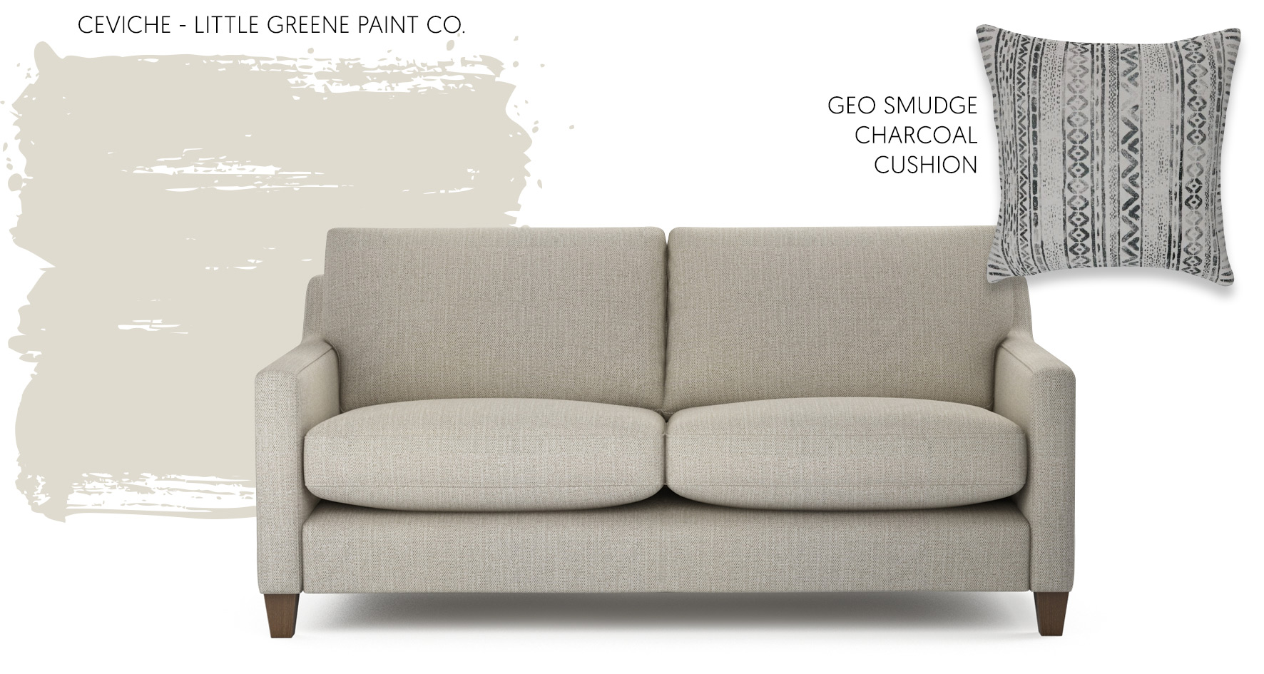 Accessorising a neutral sofa with paint from Little Greene Paint Co.