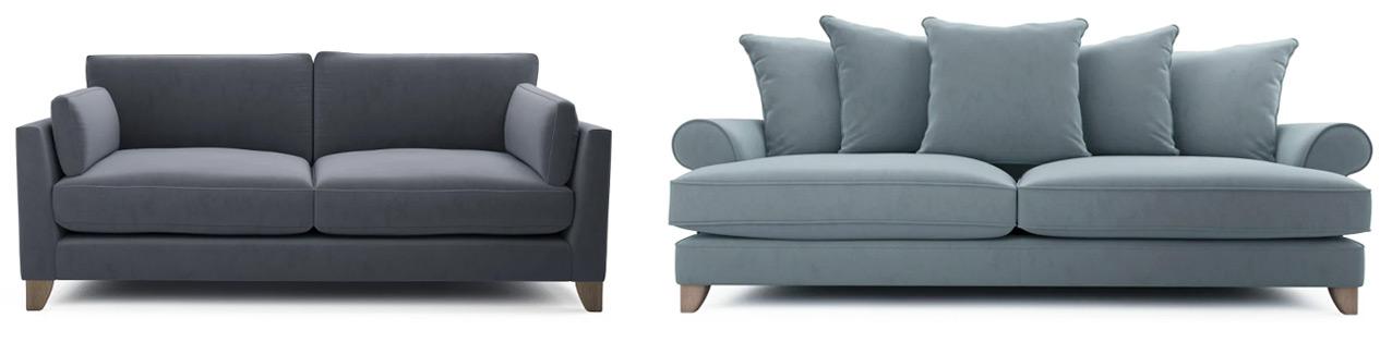 Grey and Blue Velvet Sofas