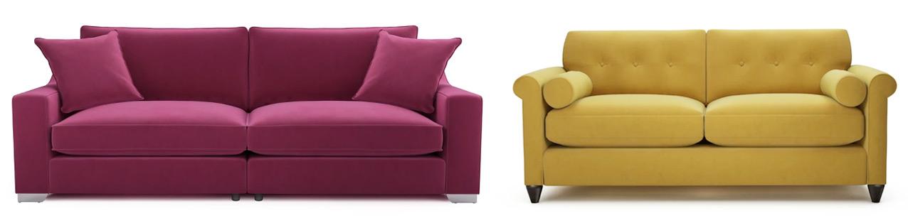 Bright Velvet Sofas