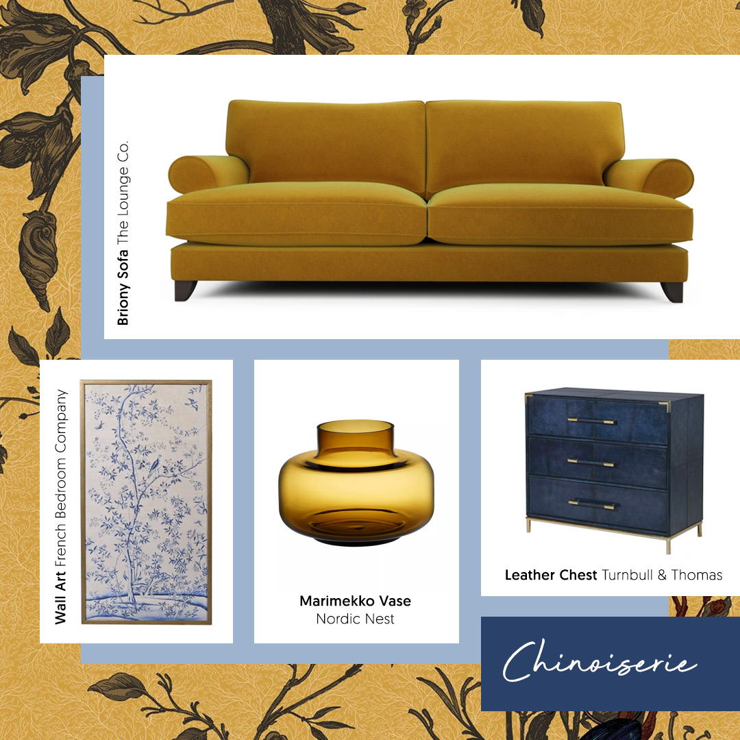 A mustard velvet sofa is a great way to embrace the 'Chinoiserie Fusion' trend