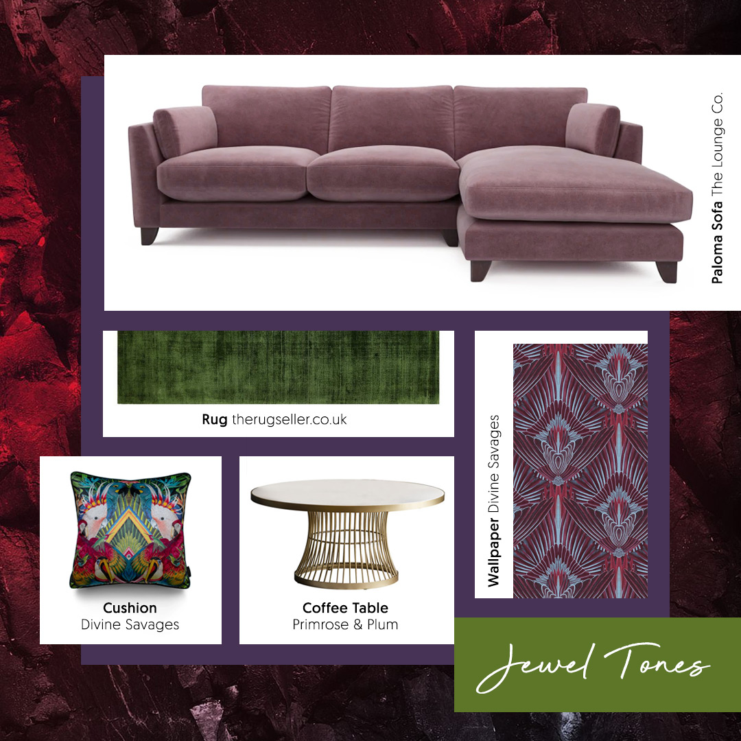 A purple velvet sofa is a great way to embrace the 'Jewel Tones' trend