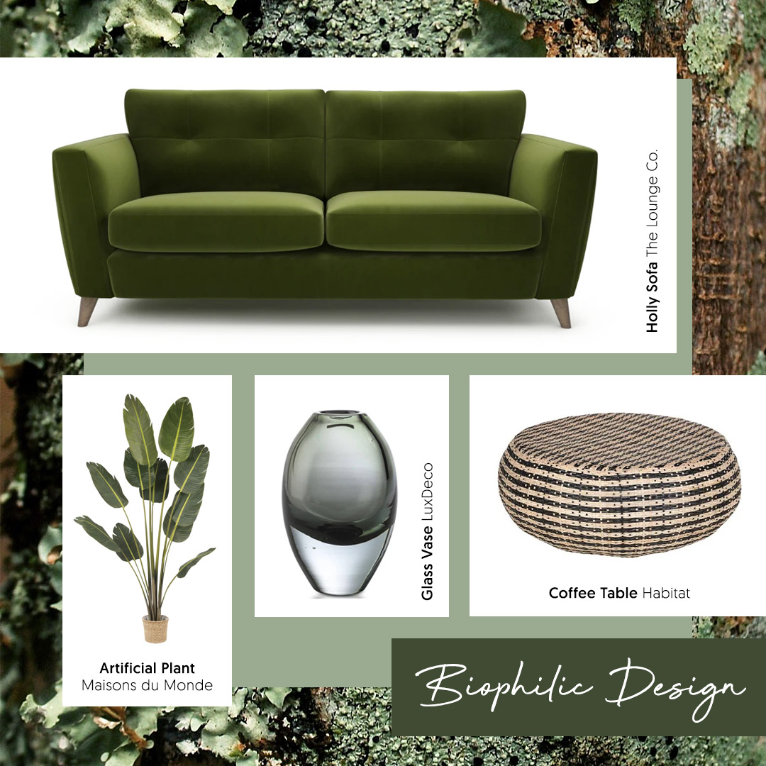 A moss green velvet sofa is a great way to embrace the botanical 'Biophilic Design' trend