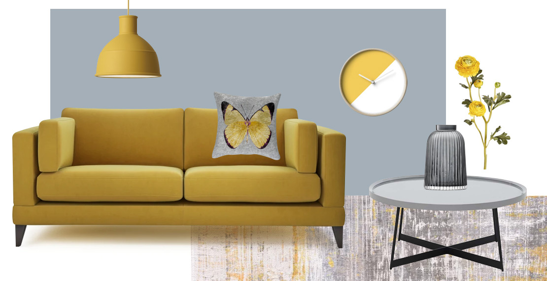 How to style a yellow sofa