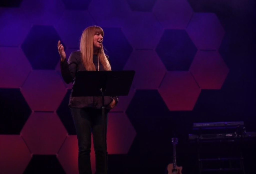 Jodi Hickerson, speaking on the main stage at Exponential