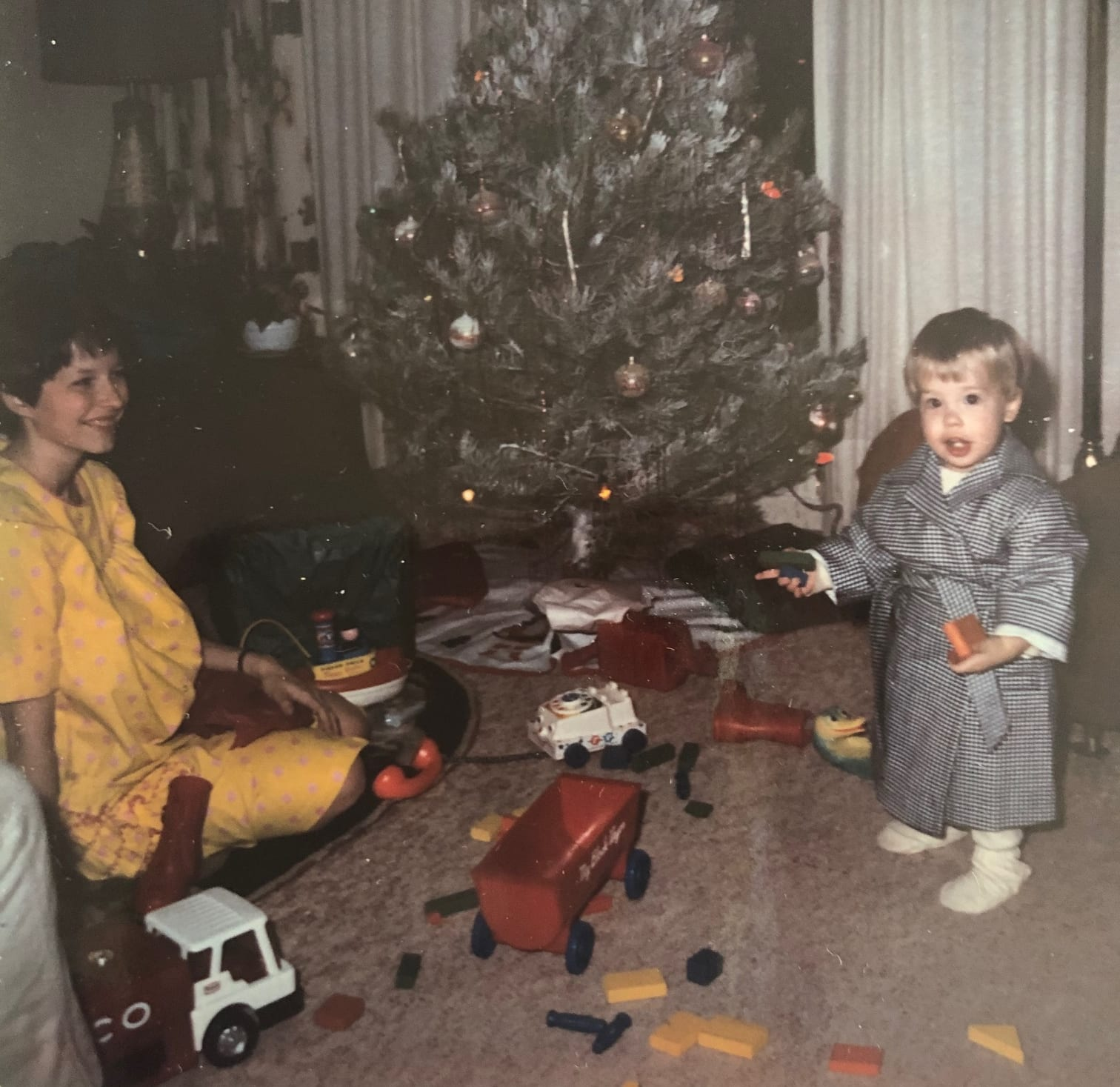 Ande and son, Thane, at Christmas. Probably 1968 or so.