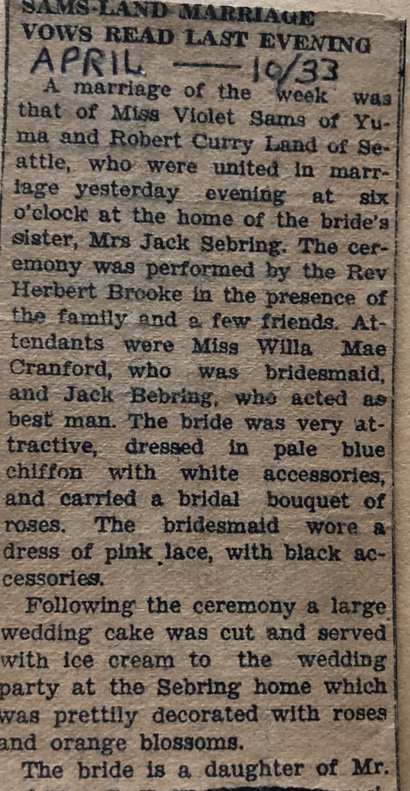 Bob and Vi's wedding announcement, April 1933.