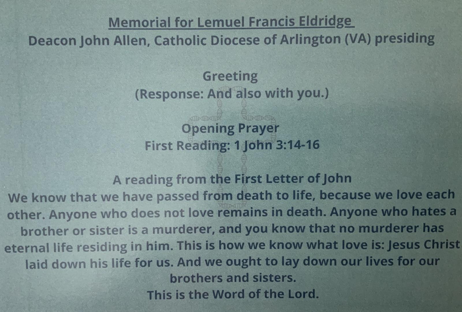 Memorial for Lem Eldridge