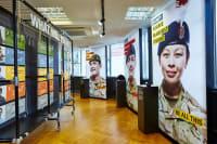 Large portraits in recruitment centre