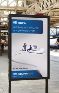 East Midlands Train 'All ears' train platform advert