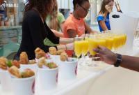 Canapés, orange juice and prosecco