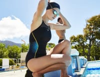 Swimmer ready on diving board