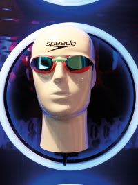 Speedo goggles on manikin head