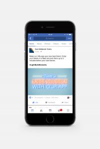 East Midlands Trains 'Less hassle with our app' facebook advert