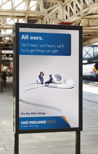 East Midlands Train 'All ears' train platform advert