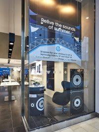 Shop window with Samsung x Shazam advert
