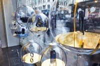 Glass baubles containing phones