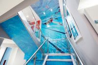 Staircase with underwater wallpaper